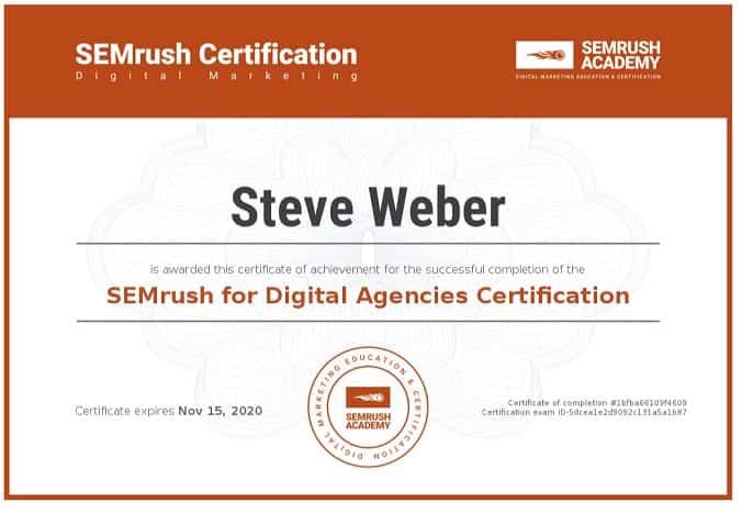 Week 99: SEMrush for Digital Agencies Certification