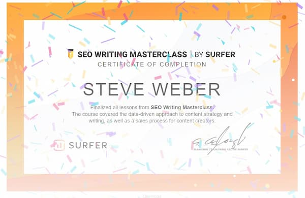 Week 162: Surfer SEO Writing Masterclass